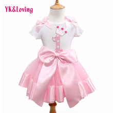 Fashion 2015 Hot Cute Baby Girl Clothing Set Flower Top TShirt+Bow Princess Tutu Skirts Children Clothes Kid Wear Brand Clothing
