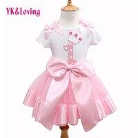YK i Kochać Moda ubranka dla dzieci Baby Girl Odzież Set Flower Top T-shirt + Łuk Princess Tutu Spódnice Odzież dziecięca Odzież Marki