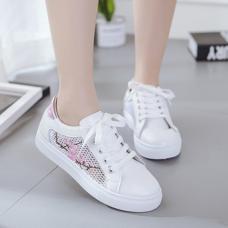 Women flats 2018 spring & summer flowers embroidery decoration women loafers lace up non-slip women flat shoes instantarts cactus flowers print women summer mesh flat shoes plant design lace up sneakers for lady mujer lightweight flats