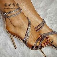 Women Pumps 2018 Fashion Peep Toe Narrow Brand Crystal Rhinestone High Heels Sandals Sexy Ladies Cross Tied Party Pumps Shoes