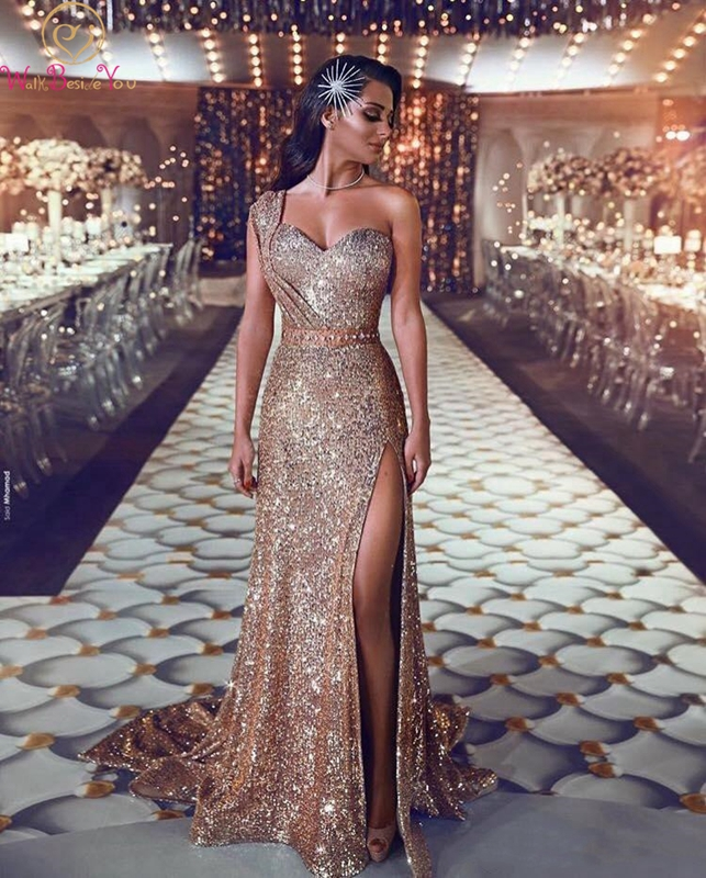 Gold Sequined   Prom     Dress   High Slit Front One Shoulder Sweetheart Neck Sweep Train Mermaid Sexy Sleeveless Custom Evening   Dress