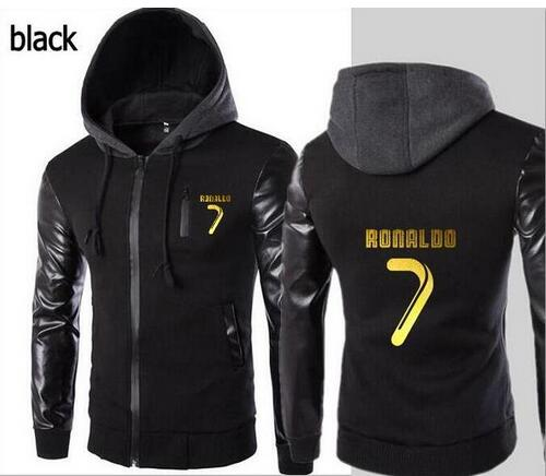 a7b9467f706 Fashion new hooded leather sleeve hoodie letter pattern CR7 Cristiano  Ronaldo jacket men's sports jacket hoodie Slim