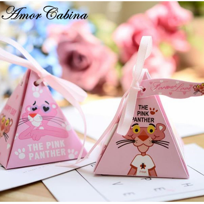 50pcs Surprise Pink Naughty Panther Party Paper Gift Bag Candy Bag Baby Shower Birthday Candy Box Child Birthday Party Supplies