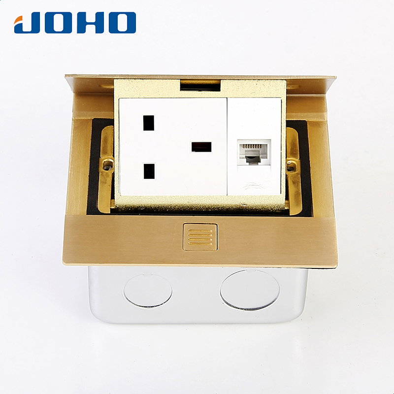 Brass Slow Pop Up Floor Socket Box with 13A UK socket and RJ45 computer data brass slow pop up floor socket box with 15a 125v us socket rj45 computer data