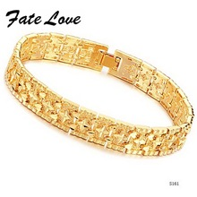 Fate Love New Arriaval Gold Color Bracelets Bangle 12mm Width For Man Wedding Fashion Sunshine Wrist Jewelry Free Shipping FL161(China)