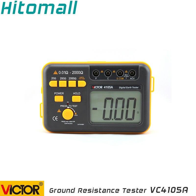 Profesional Victor tierra Digital probador de resistencia de tierra medidor de resistencia 2000 ohm 200 V medidor de resistencia VC4105A