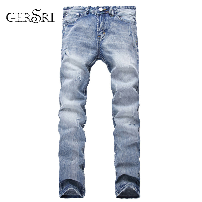 Gersri Brand Fashion Designer Jeans Men Straight Blue Color Printed Mens Jeans Ripped Jeans,100% Cotton High Quality Mens Pants