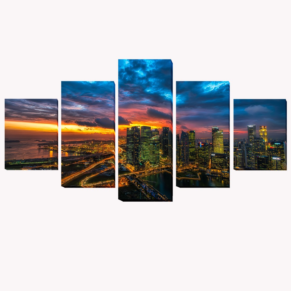 5 panels sunset glow city hd oil printed painting modern for Country living customer service number
