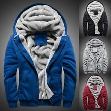 Мужское теплое уплотненное пальто, зимняя толстовка с капюшоном, флисовый свитер на молнии, куртка, верхняя одежда, стильные мужские спортивные пальто