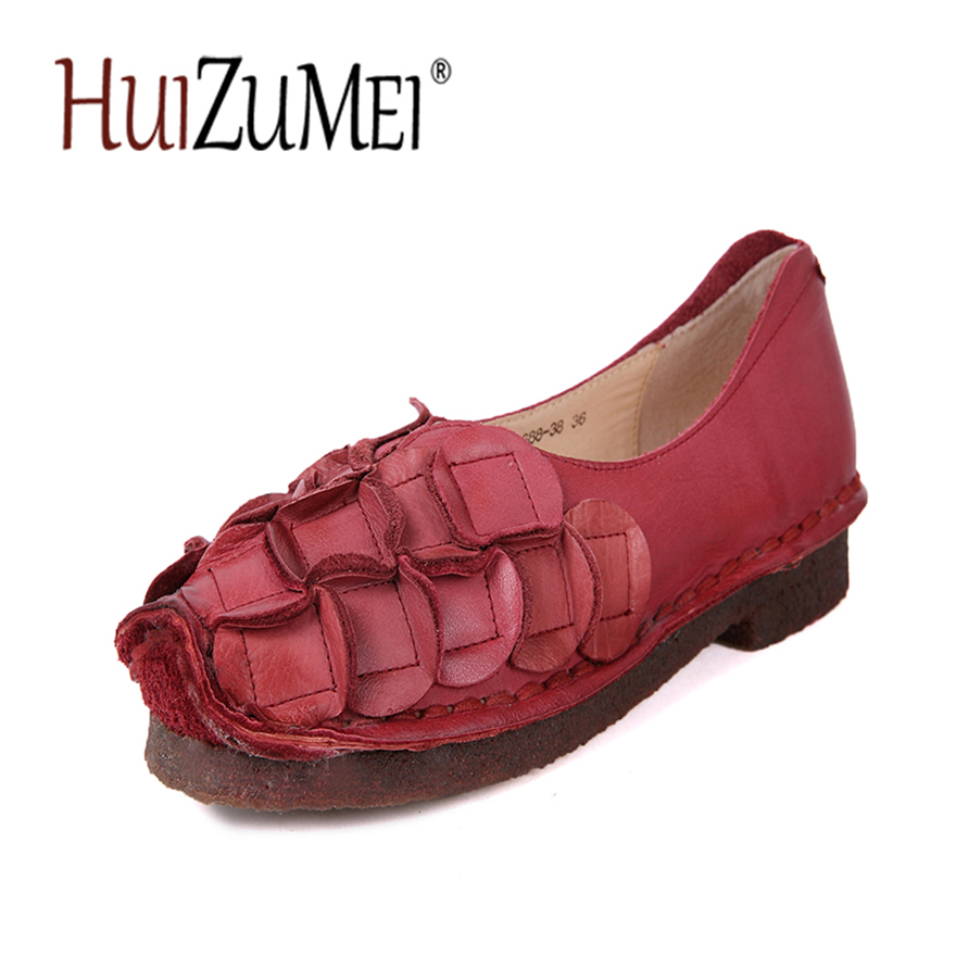 HUIZUMEI Summer Women shoes Genuine Leather Casual Flat Sandals Retro Comfortable Sandals new summer british style genuine leather flat retro shoes women breathable women flats casual comfortable shallow shoes ny8813