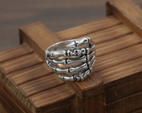100% 925 Solid Silver Punk Skull Mens Ring With A CZ Antique 925 Sterling Silver Mens Jewelry Cool Rock Star J108