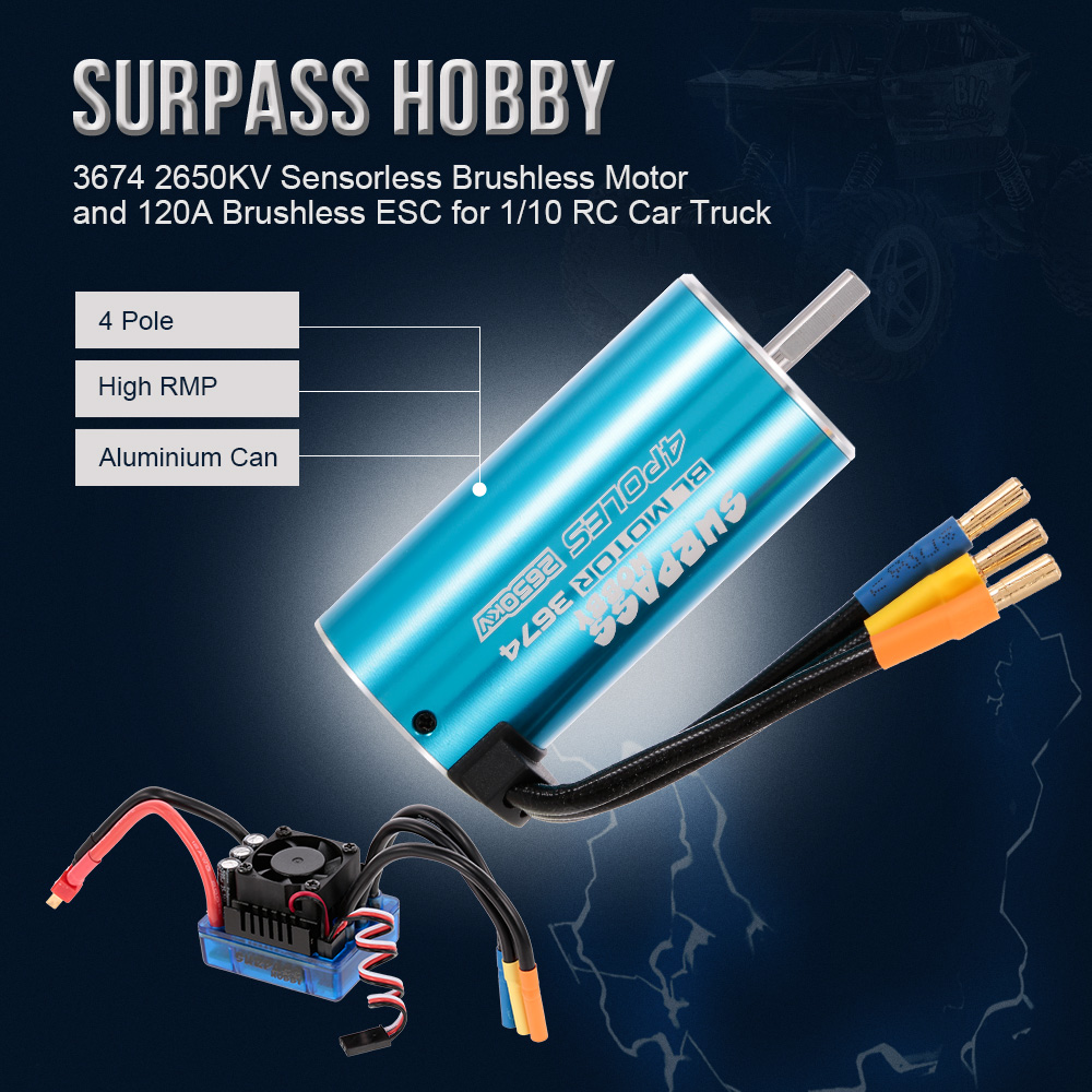 3674 2650KV RC Car Sensorless Brushless Motor 120A Brushless ESC for 1:10 1:8 RC Car RC Truck RC Toys Parts 1 10 80a adjustable sensored sensorless brushless esc for car truck