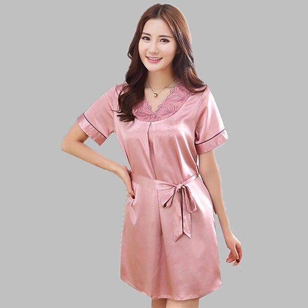 8bbb3d94ef67a Brand new الحرير قمصان النوم النسائية لربيع وصيف موضة اللطخة ثوب فضفاض  السيدات ملابس النوم الرئيسية يلة ثوب الليل المرأة