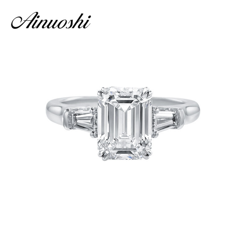 Mewah 3 Stones Emeralded Cut Cincin Brilliant Sona Perhiasan Engagement Wedding Ring 925 Sterling Silver Wanita Janji Pecinta Band