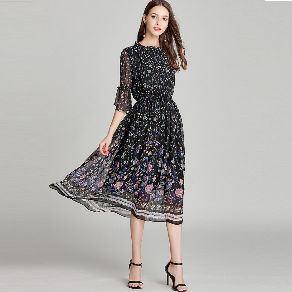 2018Fall Dress Women Long Chiffon Floral Dress Plus Size Flare Sleeve Elastic Waist Beautiful Elegant Dress Casual vestido L 5XL-in Dresses from Women's Clothing    1