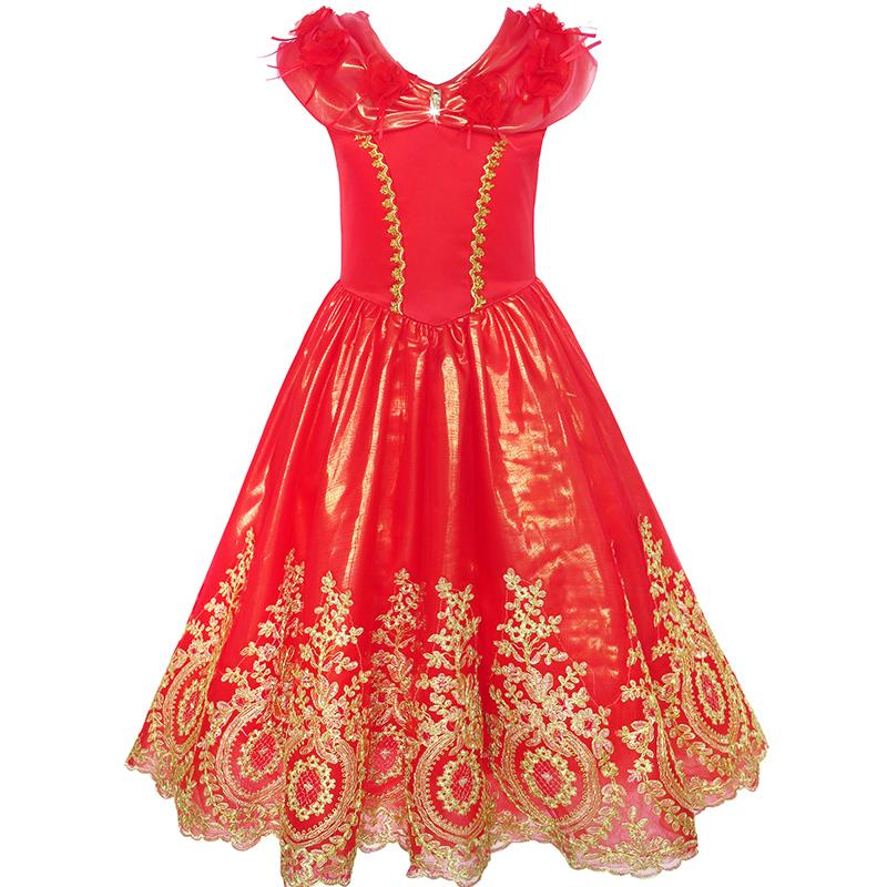 Flower Girl Dress Red Princess Costume Maxi Fancy Wedding Pageant 2018 Summer Party Gowns Girl Clothes Size 6-12 SundressFlower Girl Dress Red Princess Costume Maxi Fancy Wedding Pageant 2018 Summer Party Gowns Girl Clothes Size 6-12 Sundress