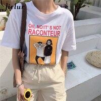Jielur Interessante Cartoon Letters Print Koreaanse Tees Top Vrouwelijke 2018 nieuwe High Street T-shirts Zwart Rood Wit Zachte Meisjes T Shirt