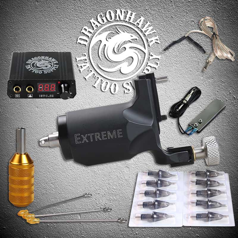 Professional Rotary Tattoo Machine Guns Tattoo Power Kit With Integral Needles Grips Supplies europe god of darkness robert recommend gp self lock grips gp3 professional tattoo artist grip