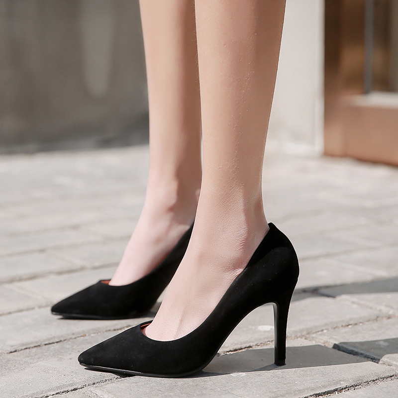 Donna-in Sexy Thin High Heels Pumps Women Genuine Leather Wedding Party Shoes Spring Plus Size 42 Natural kid suede Ladies Shoes
