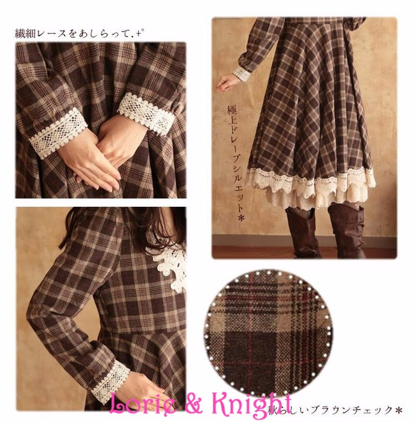 96ca914721e47 US $29.0 |Japanese Style Mori Girl Woolen Blend Plaid Spring Dress Lace  Trim Ruffles Lolita Maxi Pleated Dress-in Dresses from Women's Clothing on  ...