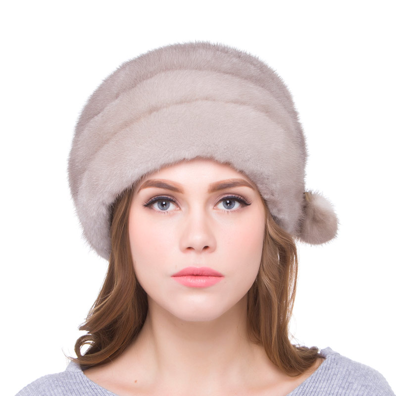 Real mink fur beret hat head cap mink fur ball accessories adjustable size autumn and winter women's fashion party hat DHY18-08