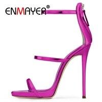 ENMAYER Brand Extreme High Heels Sandals Woman Pumps Stiletto Shoes Blue Black Roes Gold Gladiator Sandalias Big Size34 45 CR819