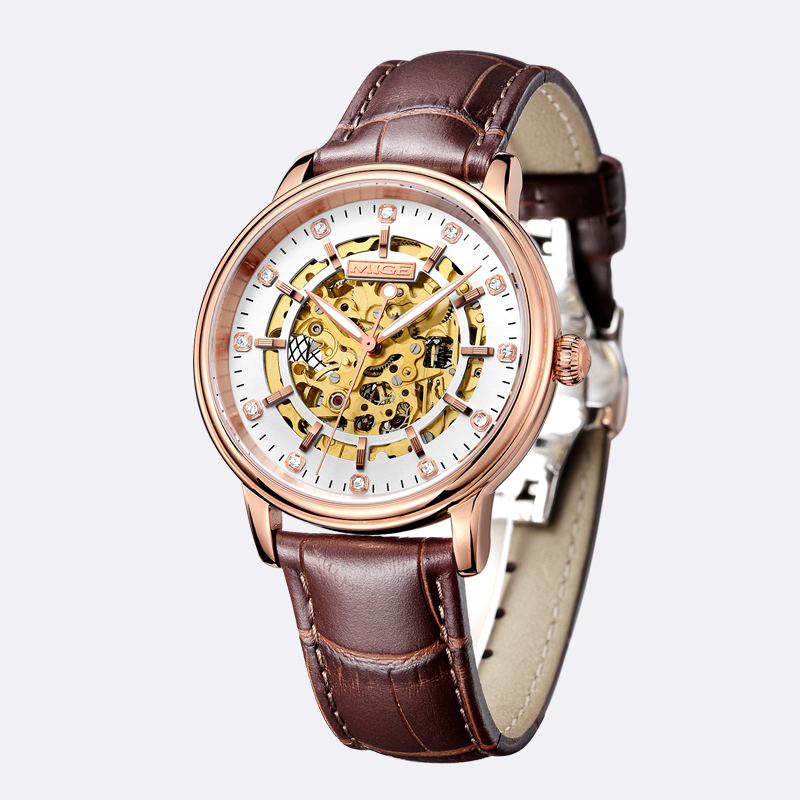 2017 Top Sale Brand Skeleton Mechan Rose Gold Steel Case White Leather Strsp Saphire Dial Waterproof Automatic Man Wristwatches mige 20017 new hot sale top brand lover watch simple white dial gold case man watches waterproof quartz mans wristwatches