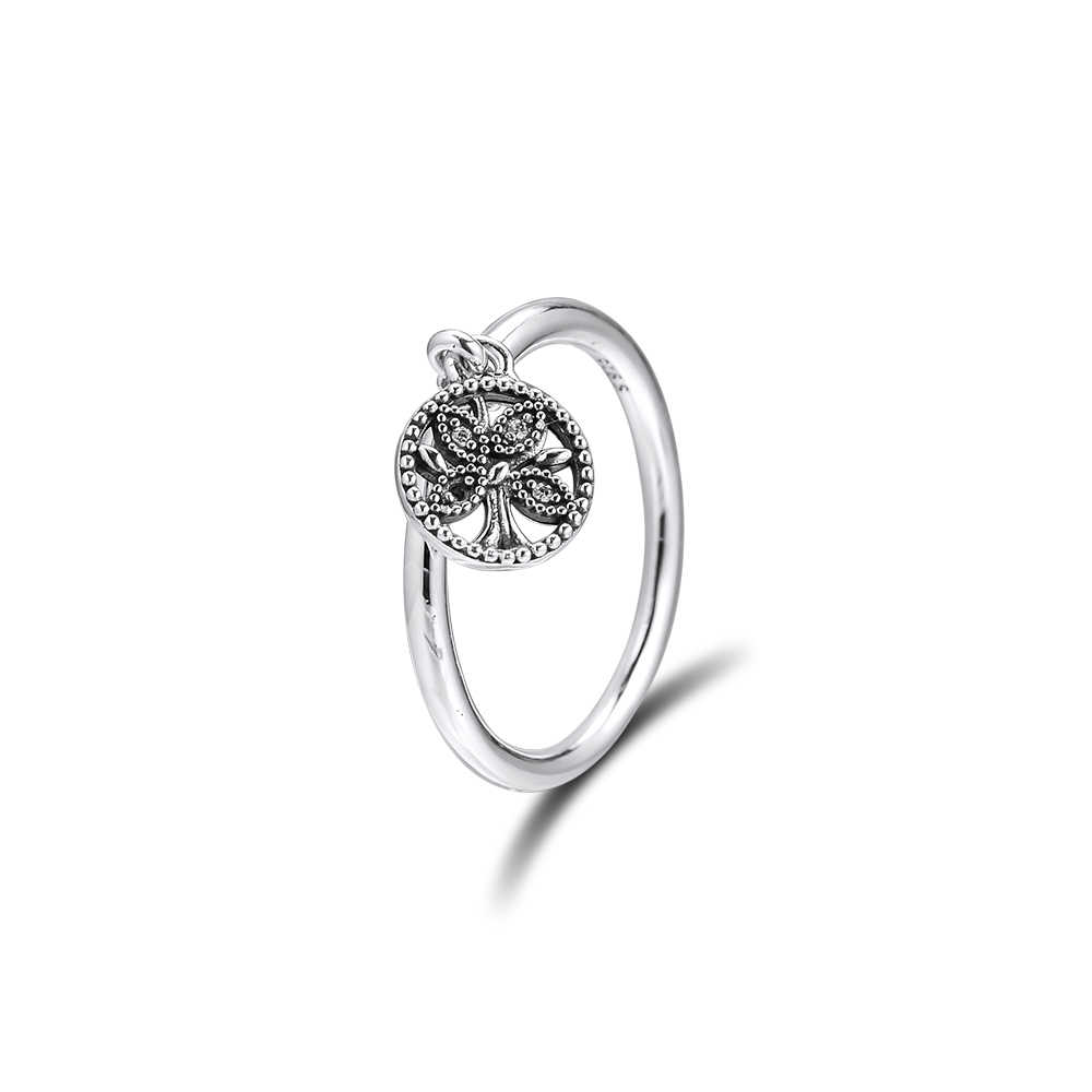 CKK แหวน Tree of Life แหวนเงินผู้หญิงผู้ชาย Anel Feminino 100% 925 เครื่องประดับสเตอร์ลิงเงิน Anillos Mujer Hombre งานแต่งงาน