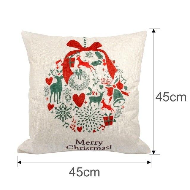 FENGRISE 45x45cm Pillow Case Christmas Decorations For Home Santa Clause Christmas Deer Cotton Linen Cover Cushion Home Decor 2