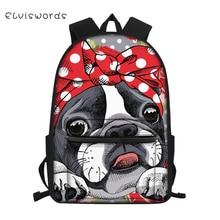 ELVISWORDS Fashion Childrens Canvas Backpack Cartoon Bulldogs Pattern Students School Book Bag Kids Boys Girls Travel Backpacks