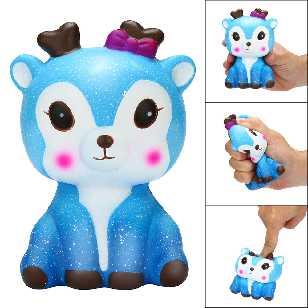 цена на Lovely cute toys for baby Kawaii Cartoon Galaxy Deer Squishy Slow Rising Cream Scented Stress Reliever Toy soft Squeeze toy