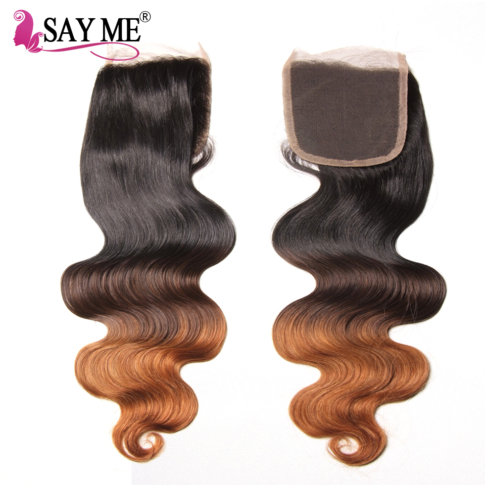 Ombre Body Wave Human Hair Bundle Med Lace Closure Blonde Brazilian - Menneskehår (sort) - Foto 4