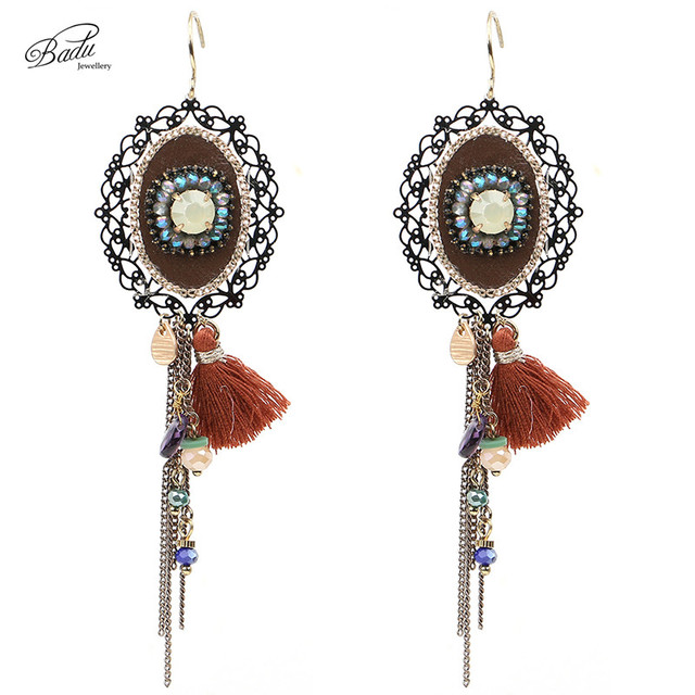 Badu Long Ethnic Earring Flower Filigree Vintage Jewelry Chain Tassels  Pendant Mother Day Gift 2017 Fashion