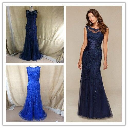 Hot Sale Scoop-Neck Beaded Appliques Lace Long Evening Dresses 2017 Backless Sweep Train Formal Women Gowns Vestidos De Fiesta