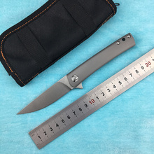 LEMIFSHE L001 Flipper folding knife D2 blade TC4 Titanium Handle Outdoor Camping Hunting Pocket Fruit Knife EDC tools цена в Москве и Питере