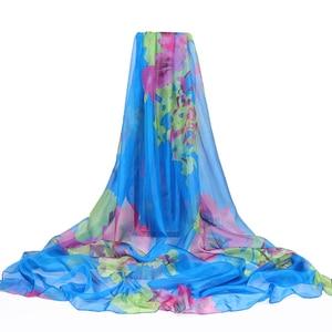Image 5 - Bufanda de seda con estampado de verano para mujer, bufanda de gasa de gran tamaño, Pareo de playa, Sarong, capa larga con protector solar, 2020x190 cm