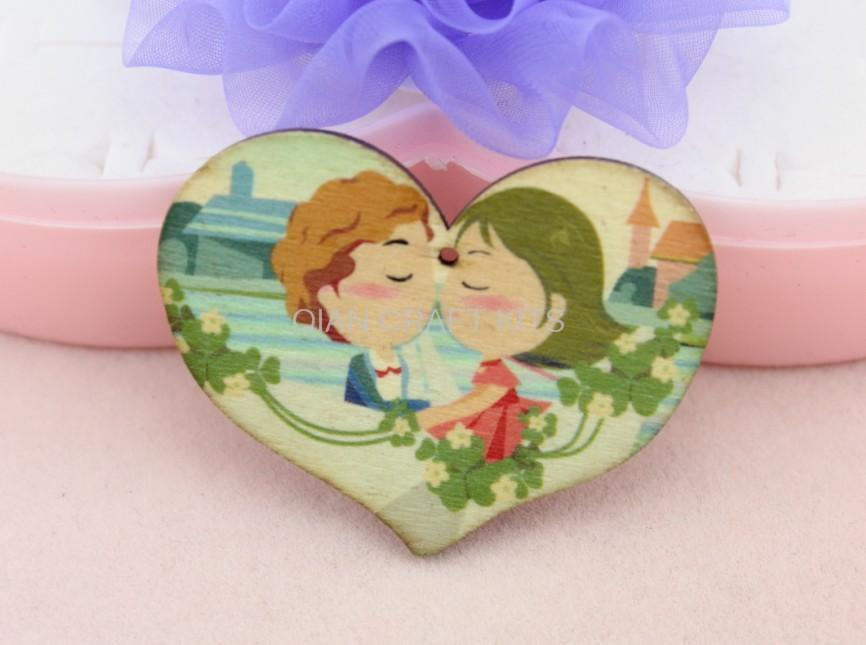 100pcs Large lovely Heart wooden Boy and Girl Cabochons Pendants ...