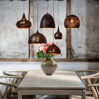 Кафе коричневый 1 шт. Утюг подвесные светильники пост современный E27 ржавый подвесной светильник магазин столовая Бар висит шнур лампы LED