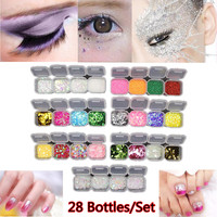 28Pcs Set Nail Art Decorations Star Heart Aurora Acrylic Nail Set Nail Glitter 3D Manicure Nail