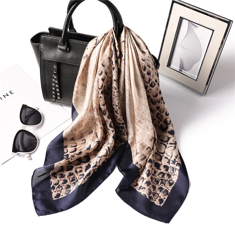 Luxury Brand 2019 New Fashion Summer Silk Square Scarf Women Leopard Satin Neck Hair Tie Band Beach Hijab Head Female Foulard(China)