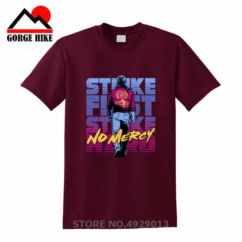 2019 80's Vintage Kleding Cobra Kai t-shirt mannen Karate kids T-shirt Strike First Strike Hard cosplay kostuum No Mercy tee shirt