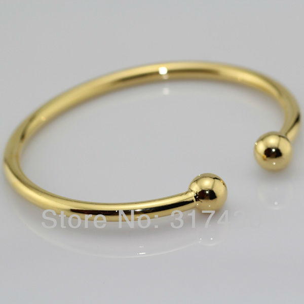 Womens Smooth 18k Yellow Gold Filled Bangle Cuff Solid Plain Bracelet 55mm Diameter 6mm Width Free