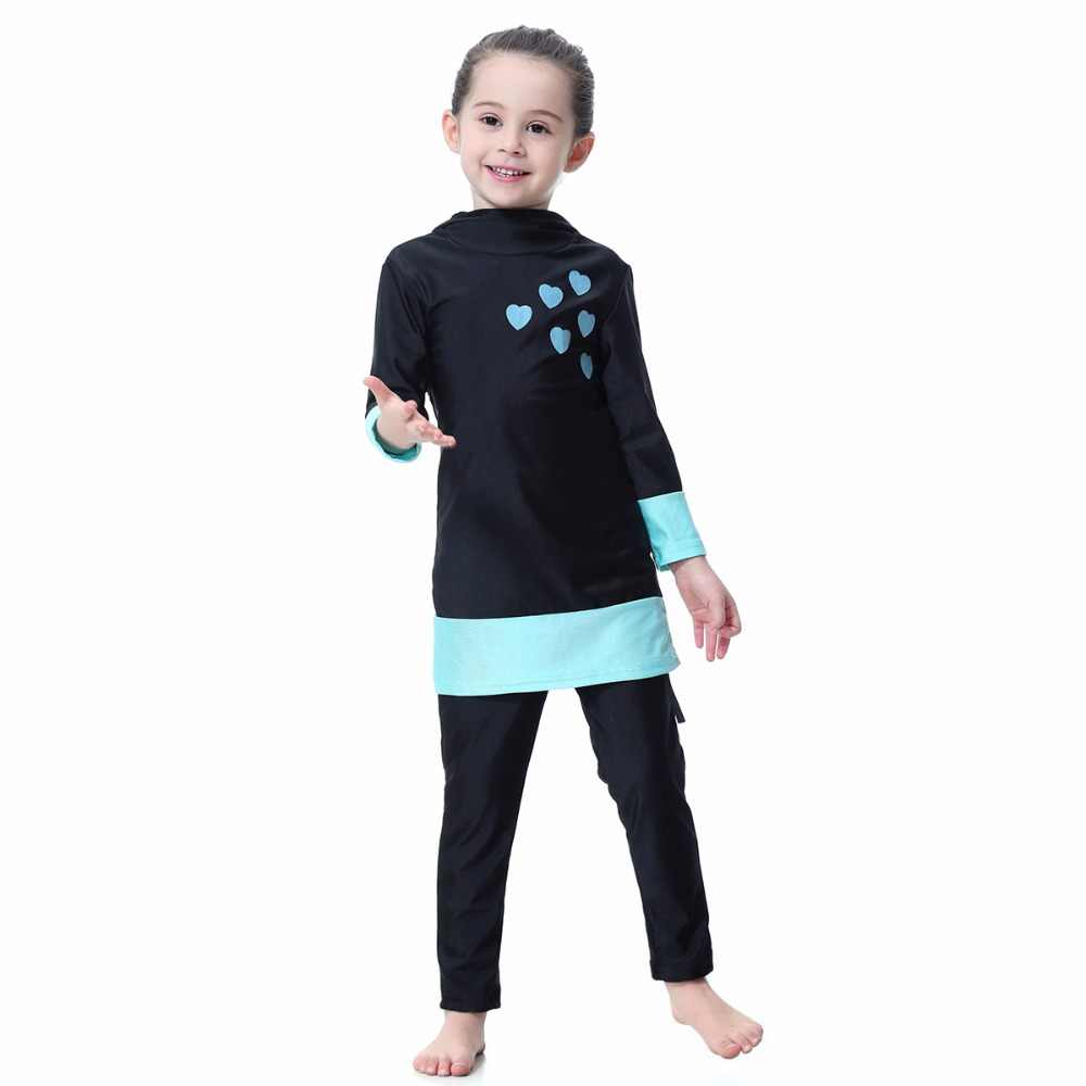 8b24524649 ... Girls Solid Muslim Swimwear Two-piece Swimsuits Long Sleeve Full  Coverage Swimming Wear Islamic Children ...