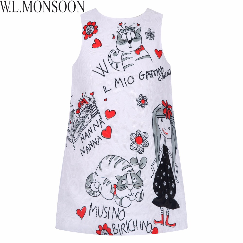 Princess Dress for Girls Clothes Character Printed Robe Fillette Costumes for Children Clothing 2017 Brand Girls Dresses Kids