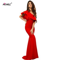 SEBOWEL Elegant One Shoulder Ruffles Sleeve Party Dress Women Mermaid Long Dress Formal Wear Maxi Dress