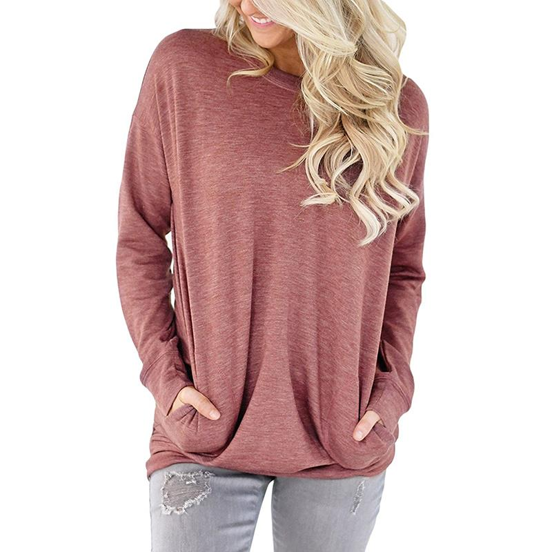 Women Tops 2018 Long Sleeve Casual T Shirts Solid O Neck Tee Shirt Femme Plus Size