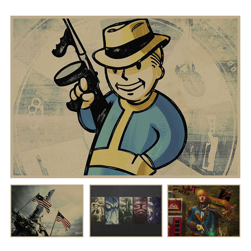 Fallout 3 4 Game retro Poster Retro Kraft Paper Bar Cafe Home Decor Painting Wall Sticker
