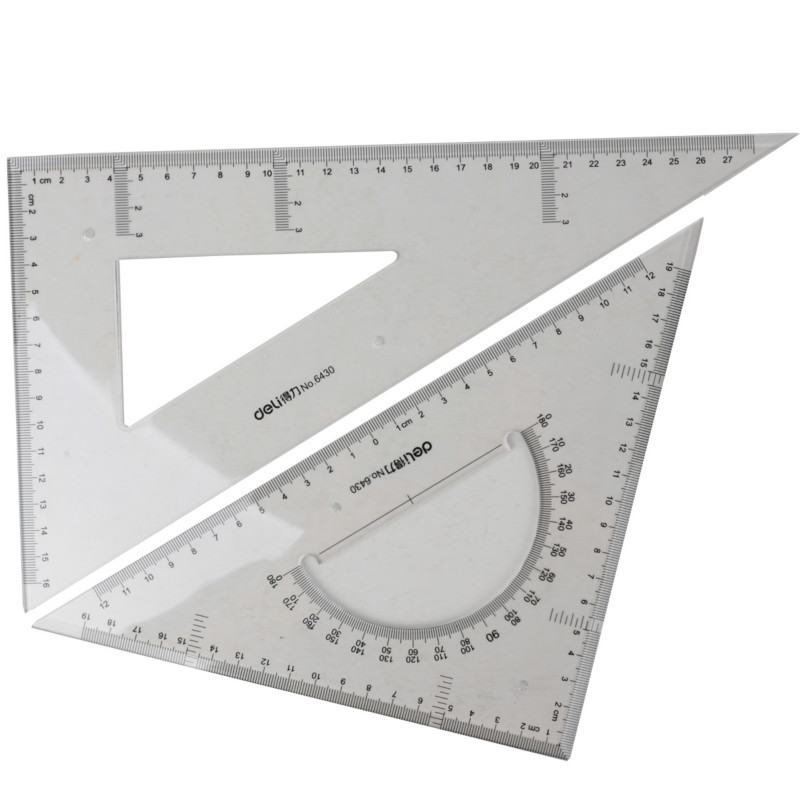 Deli 2pcs/set Ruler Drawing Measurement Geometry Triangle Ruler Straightedge Protractor Rulers Engineering Drawing Transparent