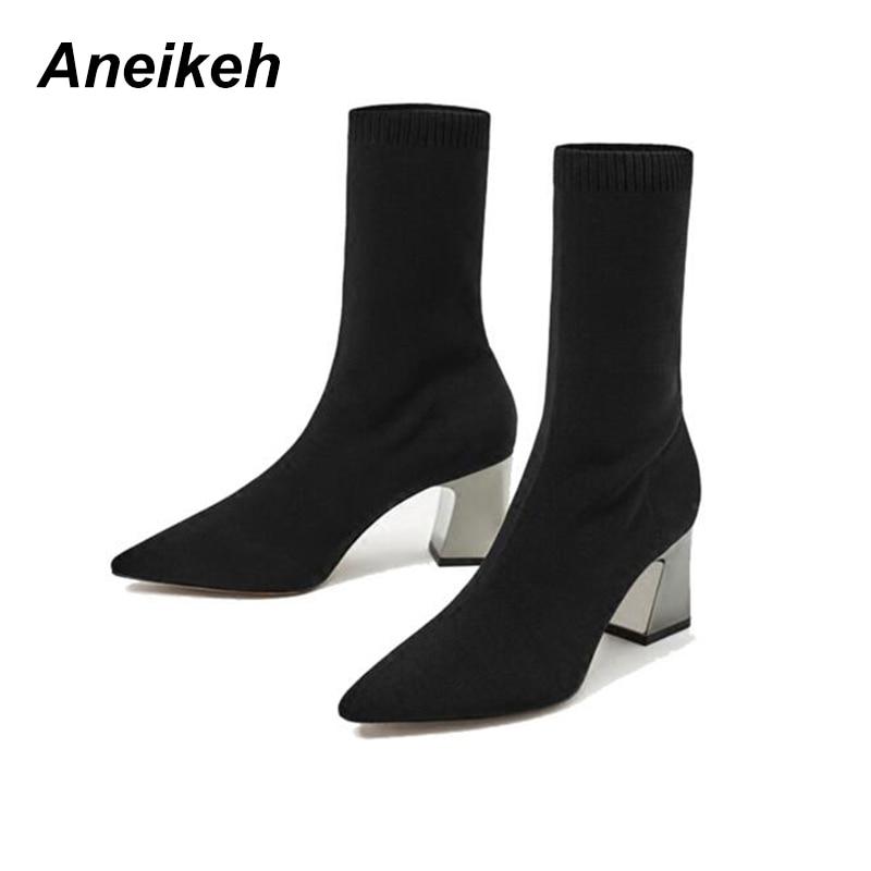 Aneikeh/Модные ботильоны эластичный носок Сапоги и ботинки для девочек высокий толстый каблук стрейч Для Женщин Осенние пикантные ботильоны острый носок женские туфли-лодочки размер 40