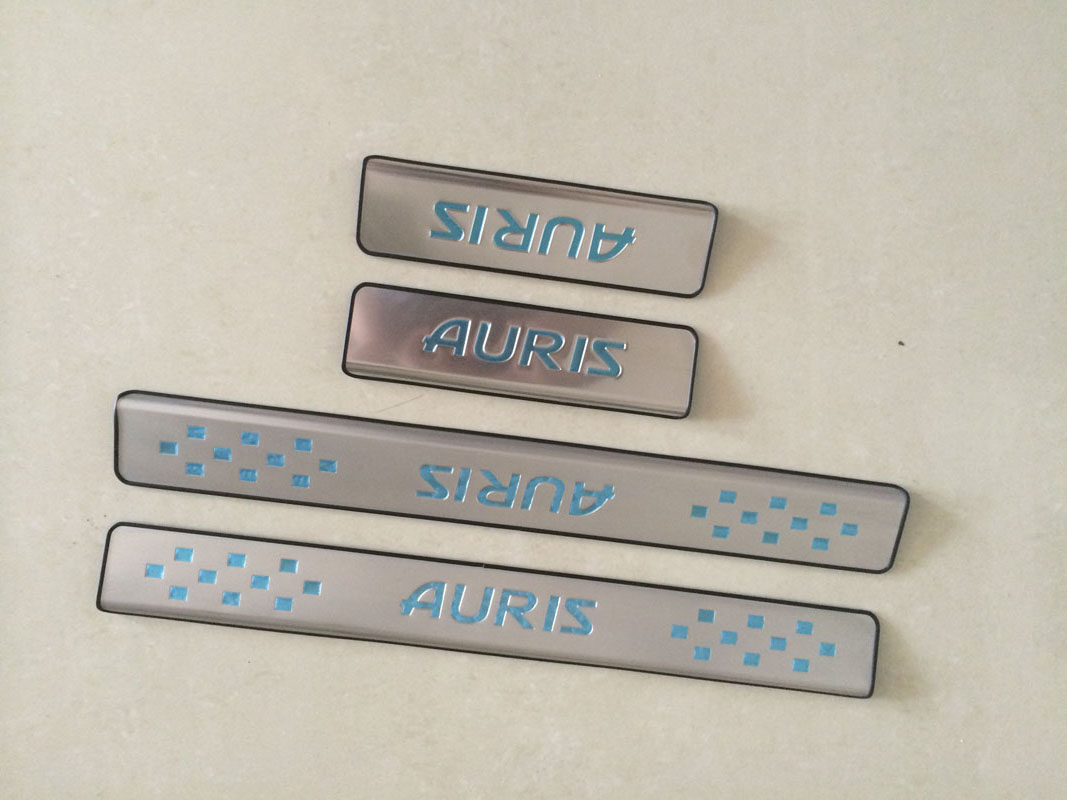 Door Sill Strip for Toyota AURIS 2014 2015 2016+ Welcome Pedal Stainless Steel Trim Auto Car Styling Stickers Accessories 4 Pcs bjmycyy 2 pcs car styling stainless steel small speaker circle patch stickers cover casw for chevrolet trax 2014 accessories